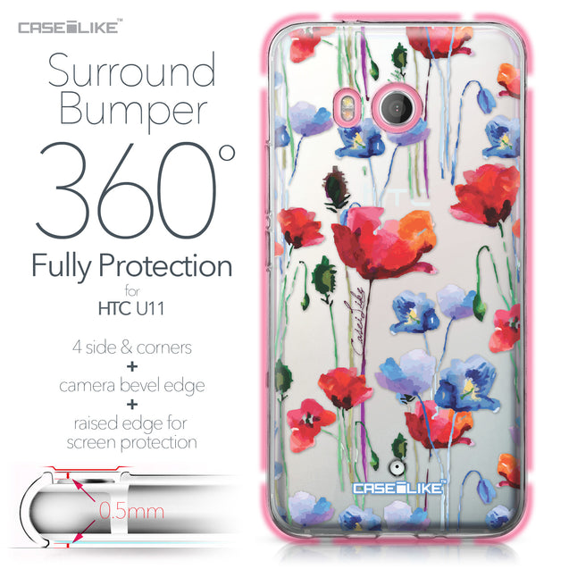 HTC U11 case Watercolor Floral 2234 Bumper Case Protection | CASEiLIKE.com