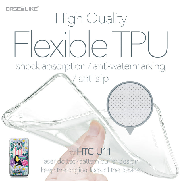 HTC U11 case Tropical Floral 2240 Soft Gel Silicone Case | CASEiLIKE.com