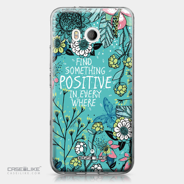 HTC U11 case Blooming Flowers Turquoise 2249 | CASEiLIKE.com