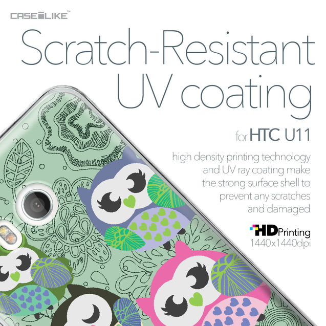HTC U11 case Owl Graphic Design 3313 with UV-Coating Scratch-Resistant Case | CASEiLIKE.com