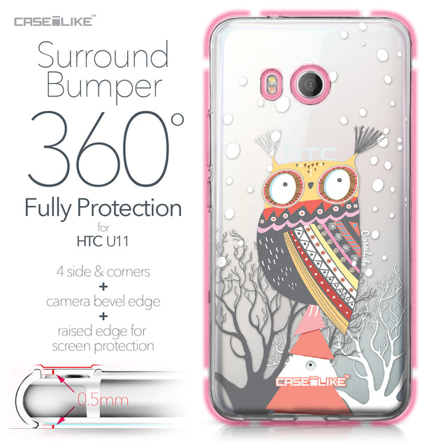 HTC U11 case Owl Graphic Design 3317 Bumper Case Protection | CASEiLIKE.com