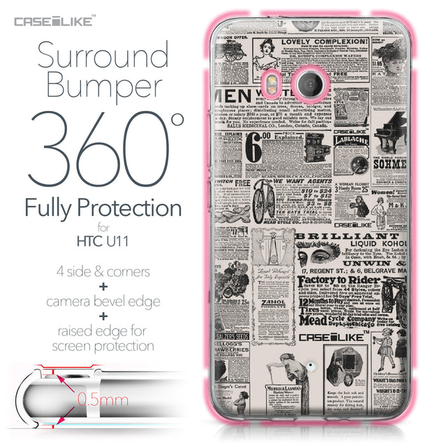 HTC U11 case Vintage Newspaper Advertising 4818 Bumper Case Protection | CASEiLIKE.com