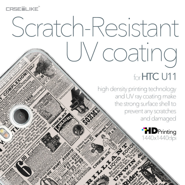 HTC U11 case Vintage Newspaper Advertising 4818 with UV-Coating Scratch-Resistant Case | CASEiLIKE.com