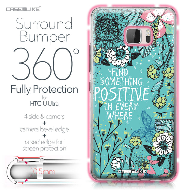 HTC U Ultra case Blooming Flowers Turquoise 2249 Bumper Case Protection | CASEiLIKE.com