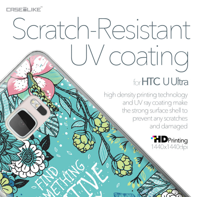 HTC U Ultra case Blooming Flowers Turquoise 2249 with UV-Coating Scratch-Resistant Case | CASEiLIKE.com