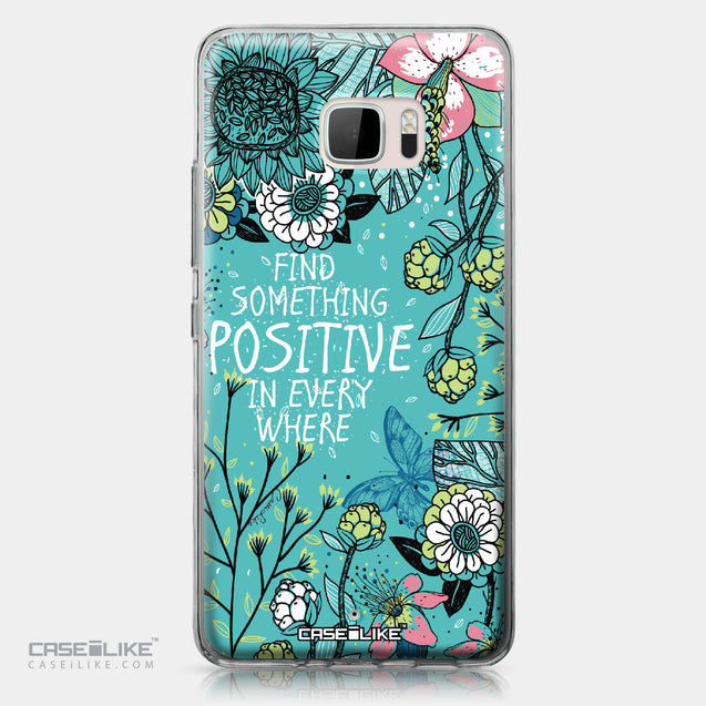 HTC U Ultra case Blooming Flowers Turquoise 2249 | CASEiLIKE.com