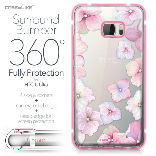 HTC U Ultra case Hydrangea 2257 Bumper Case Protection | CASEiLIKE.com