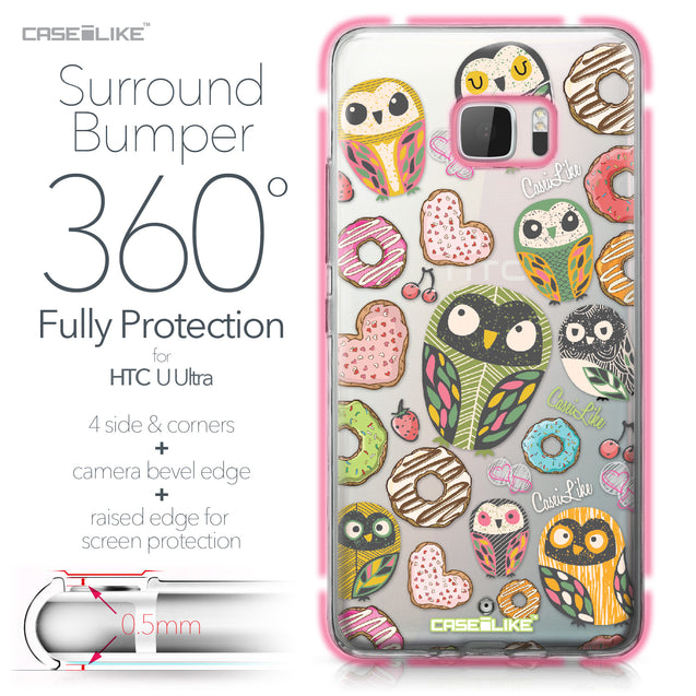 HTC U Ultra case Owl Graphic Design 3315 Bumper Case Protection | CASEiLIKE.com