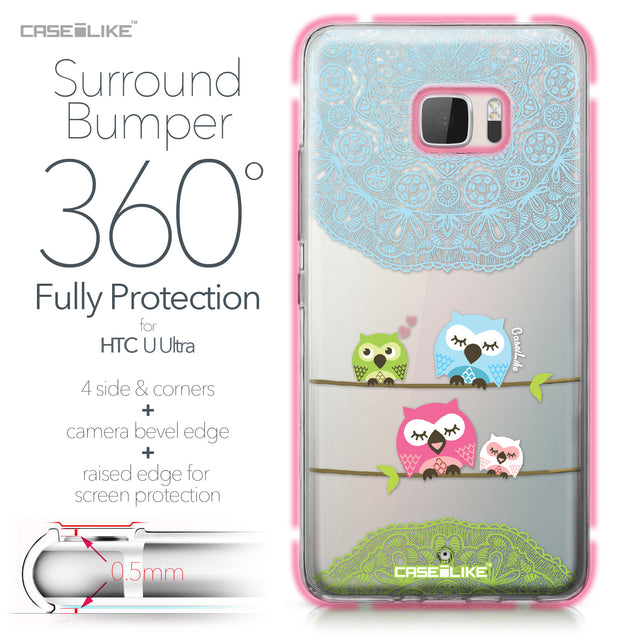 HTC U Ultra case Owl Graphic Design 3318 Bumper Case Protection | CASEiLIKE.com