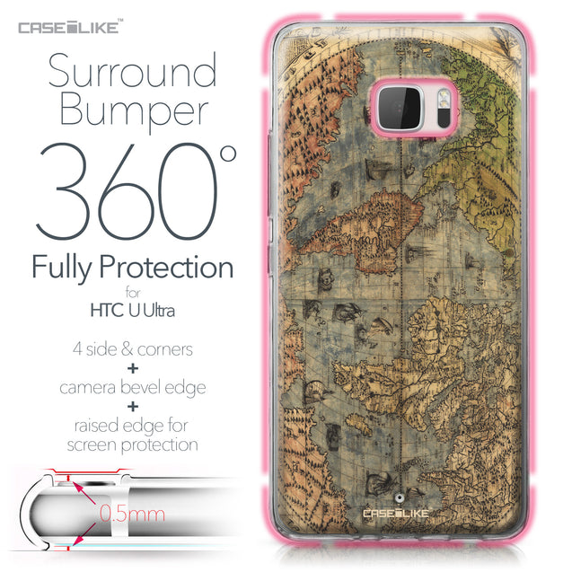 HTC U Ultra case World Map Vintage 4608 Bumper Case Protection | CASEiLIKE.com
