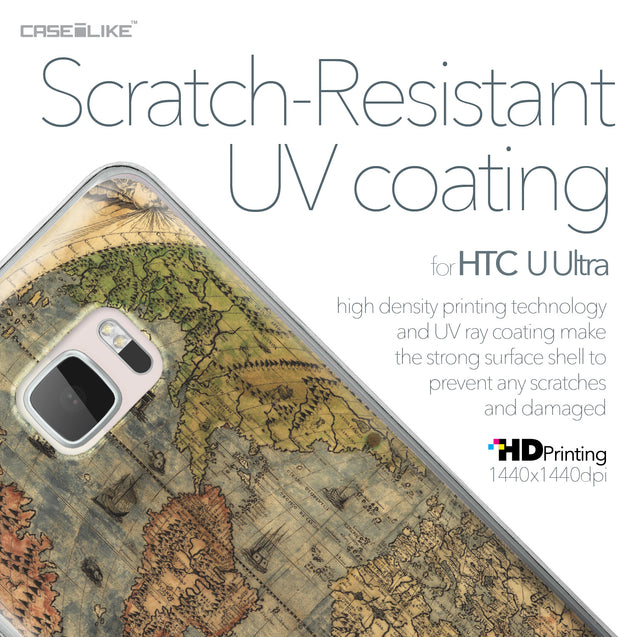 HTC U Ultra case World Map Vintage 4608 with UV-Coating Scratch-Resistant Case | CASEiLIKE.com