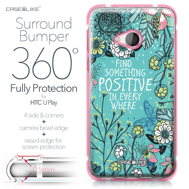 HTC U Play case Blooming Flowers Turquoise 2249 Bumper Case Protection | CASEiLIKE.com