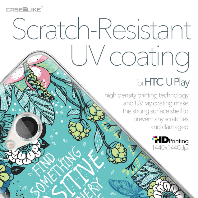 HTC U Play case Blooming Flowers Turquoise 2249 with UV-Coating Scratch-Resistant Case | CASEiLIKE.com