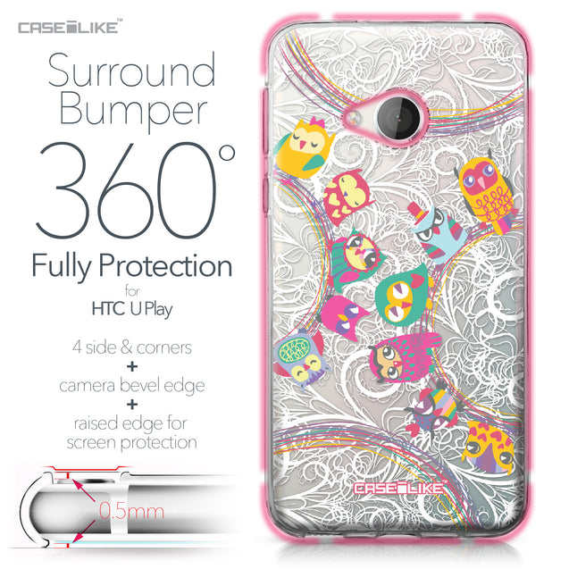 HTC U Play case Owl Graphic Design 3316 Bumper Case Protection | CASEiLIKE.com
