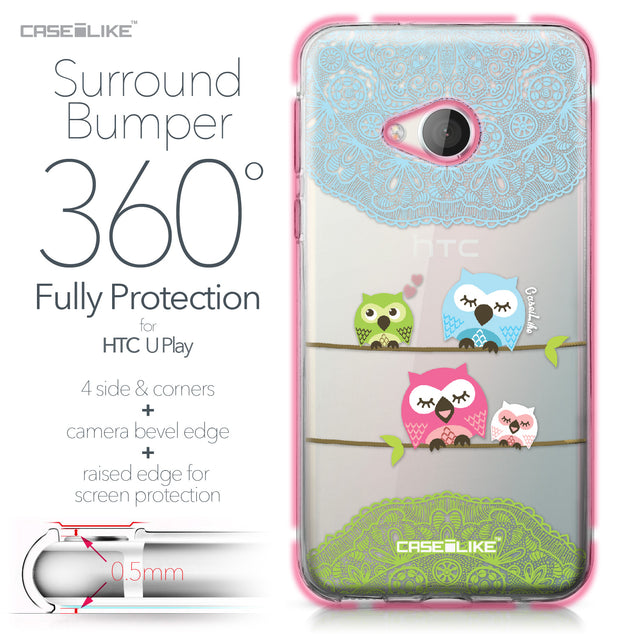 HTC U Play case Owl Graphic Design 3318 Bumper Case Protection | CASEiLIKE.com