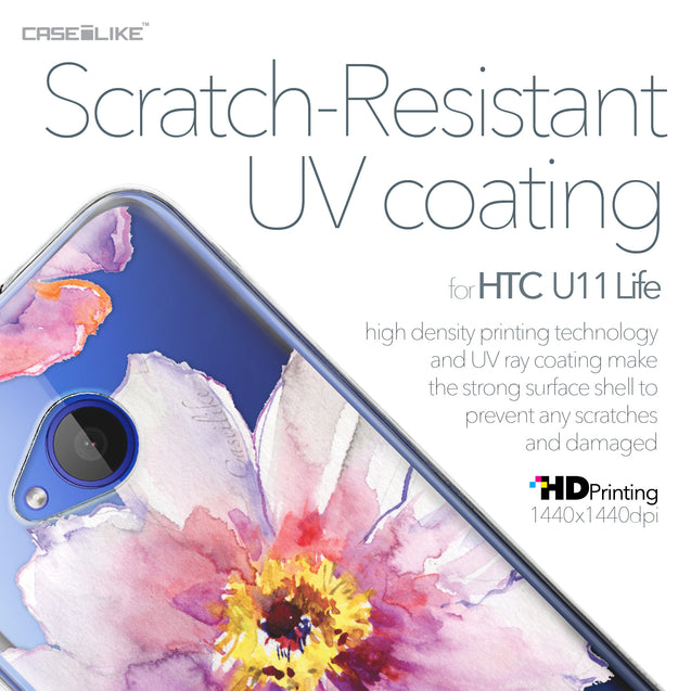 HTC U11 Life case Watercolor Floral 2231 with UV-Coating Scratch-Resistant Case | CASEiLIKE.com