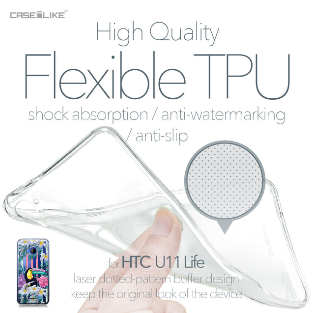 HTC U11 Life case Tropical Floral 2240 Soft Gel Silicone Case | CASEiLIKE.com