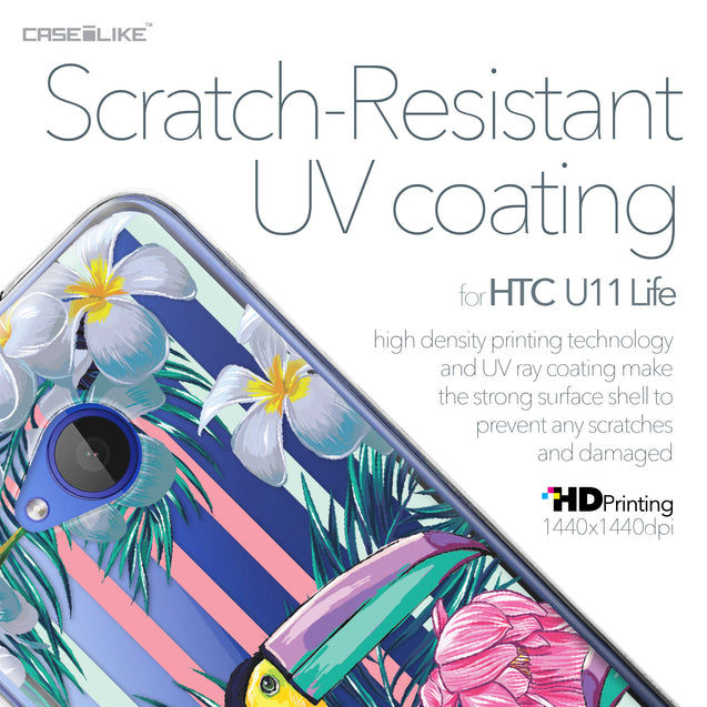 HTC U11 Life case Tropical Floral 2240 with UV-Coating Scratch-Resistant Case | CASEiLIKE.com