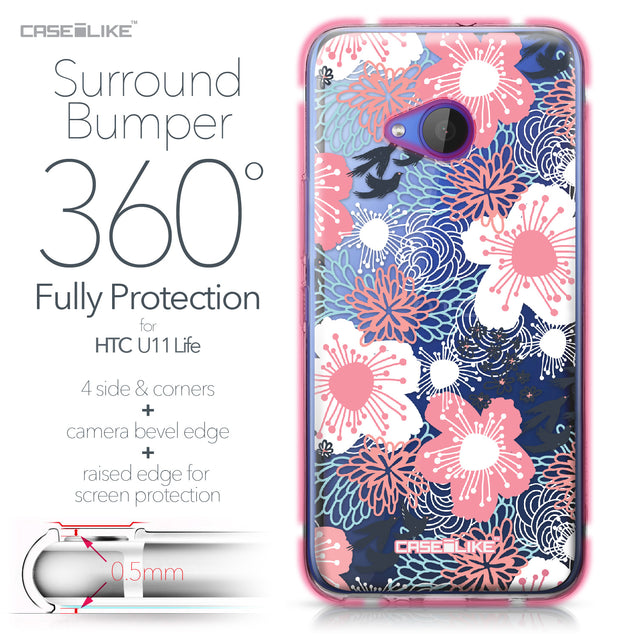 HTC U11 Life case Japanese Floral 2255 Bumper Case Protection | CASEiLIKE.com