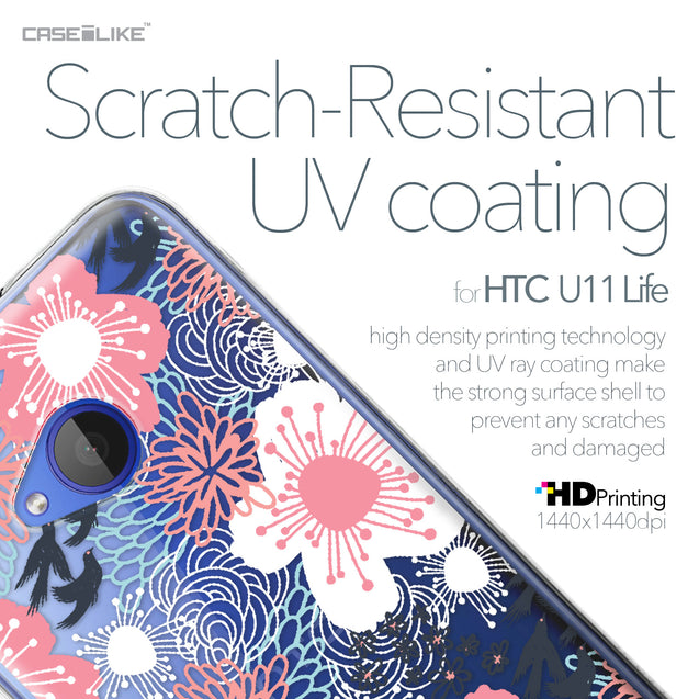HTC U11 Life case Japanese Floral 2255 with UV-Coating Scratch-Resistant Case | CASEiLIKE.com
