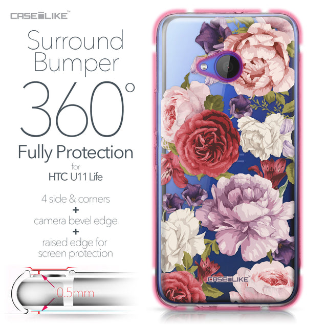 HTC U11 Life case Mixed Roses 2259 Bumper Case Protection | CASEiLIKE.com