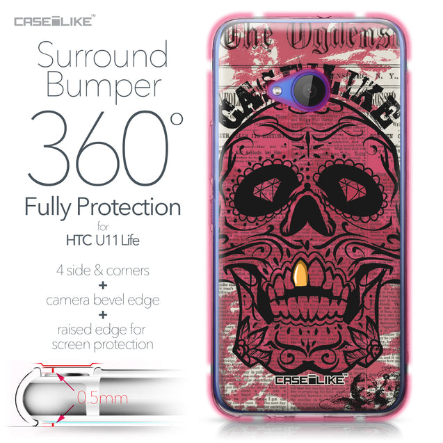 HTC U11 Life case Art of Skull 2523 Bumper Case Protection | CASEiLIKE.com
