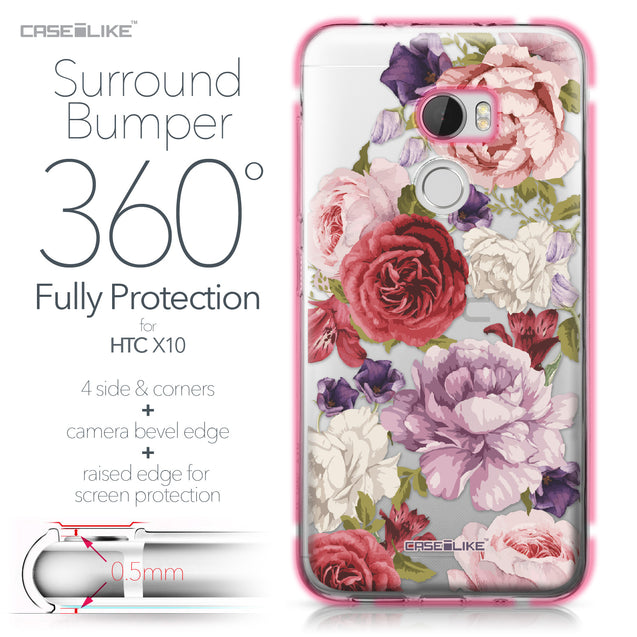 HTC One X10 case Mixed Roses 2259 Bumper Case Protection | CASEiLIKE.com
