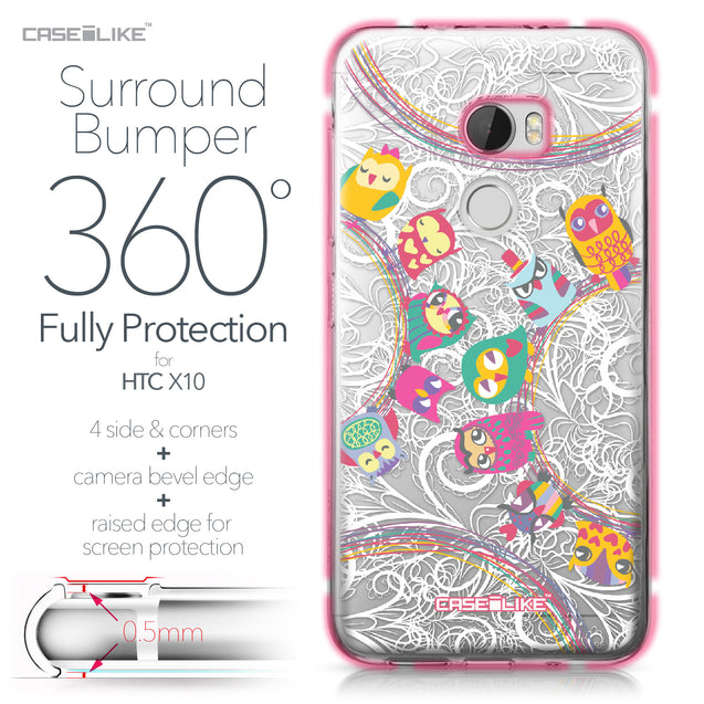 HTC One X10 case Owl Graphic Design 3316 Bumper Case Protection | CASEiLIKE.com