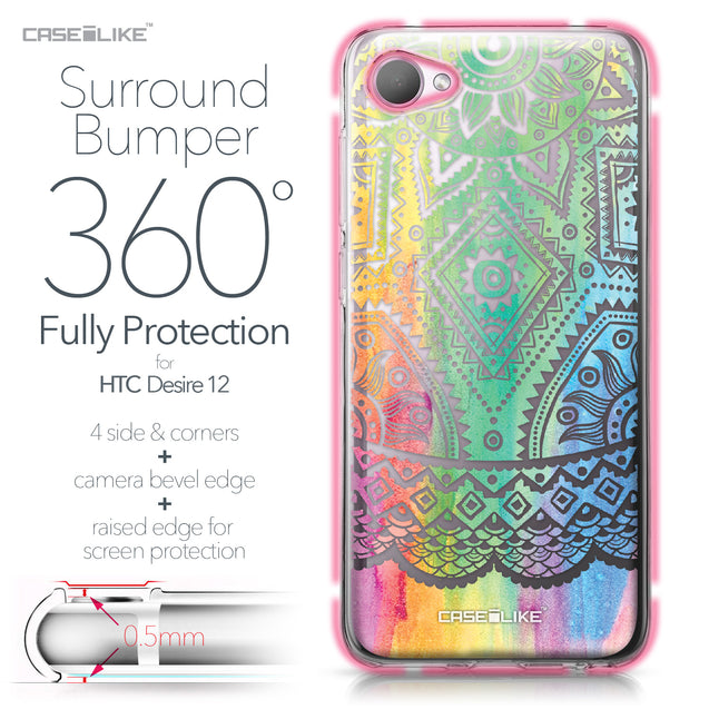 HTC Desire 12 case Indian Line Art 2064 Bumper Case Protection | CASEiLIKE.com