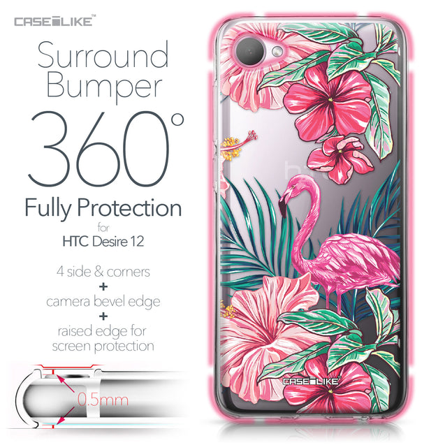 HTC Desire 12 case Tropical Flamingo 2239 Bumper Case Protection | CASEiLIKE.com