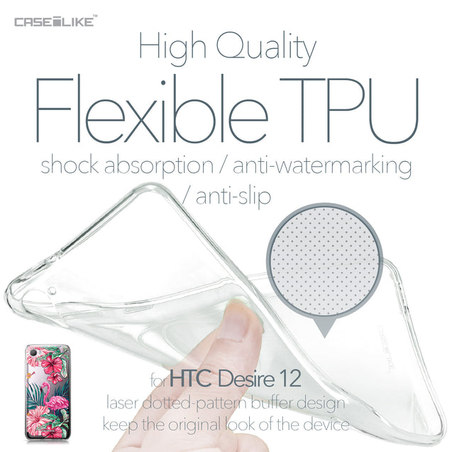 HTC Desire 12 case Tropical Flamingo 2239 Soft Gel Silicone Case | CASEiLIKE.com