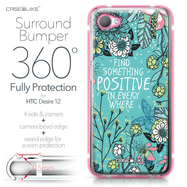 HTC Desire 12 case Blooming Flowers Turquoise 2249 Bumper Case Protection | CASEiLIKE.com