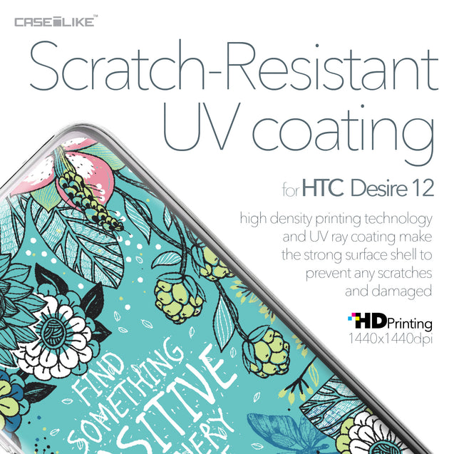 HTC Desire 12 case Blooming Flowers Turquoise 2249 with UV-Coating Scratch-Resistant Case | CASEiLIKE.com