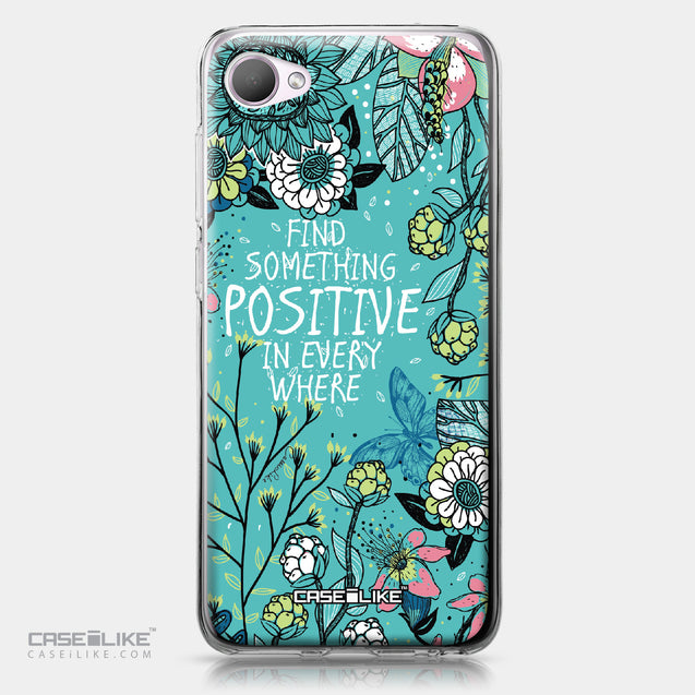 HTC Desire 12 case Blooming Flowers Turquoise 2249 | CASEiLIKE.com