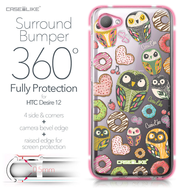HTC Desire 12 case Owl Graphic Design 3315 Bumper Case Protection | CASEiLIKE.com