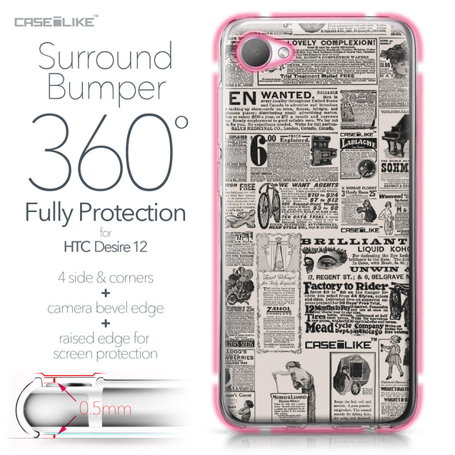 HTC Desire 12 case Vintage Newspaper Advertising 4818 Bumper Case Protection | CASEiLIKE.com