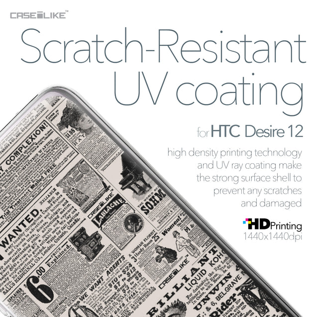 HTC Desire 12 case Vintage Newspaper Advertising 4818 with UV-Coating Scratch-Resistant Case | CASEiLIKE.com