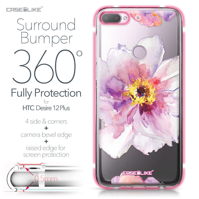 HTC Desire 12 Plus case Watercolor Floral 2231 Bumper Case Protection | CASEiLIKE.com