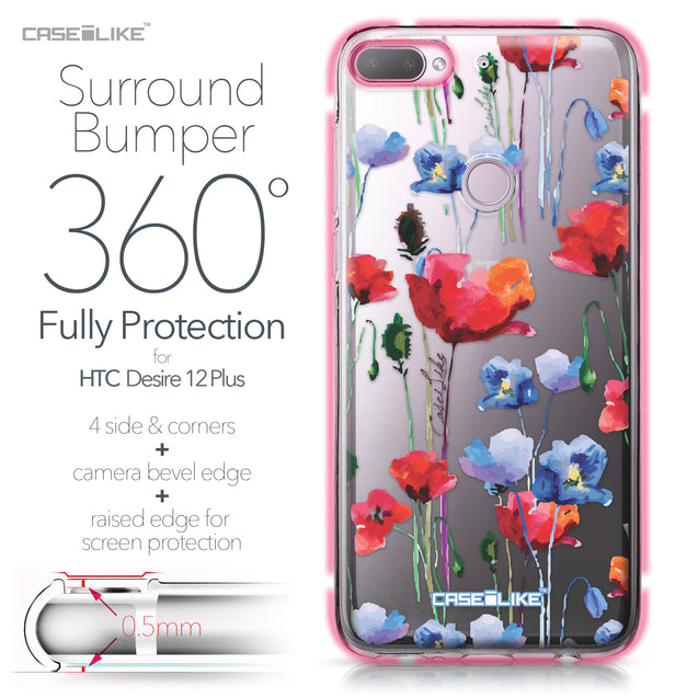 HTC Desire 12 Plus case Watercolor Floral 2234 Bumper Case Protection | CASEiLIKE.com