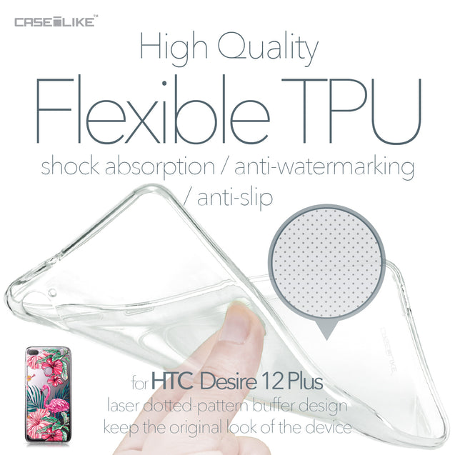 HTC Desire 12 Plus case Tropical Flamingo 2239 Soft Gel Silicone Case | CASEiLIKE.com