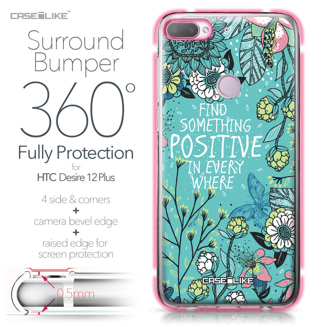 HTC Desire 12 Plus case Blooming Flowers Turquoise 2249 Bumper Case Protection | CASEiLIKE.com