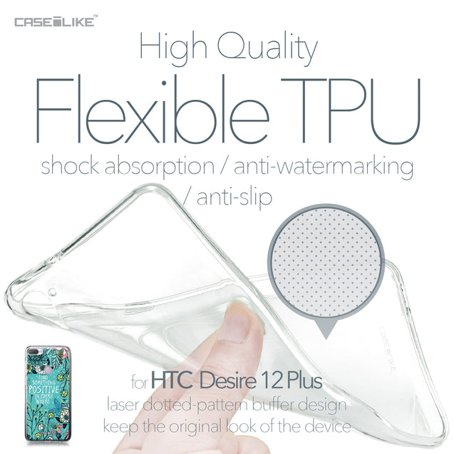 HTC Desire 12 Plus case Blooming Flowers Turquoise 2249 Soft Gel Silicone Case | CASEiLIKE.com