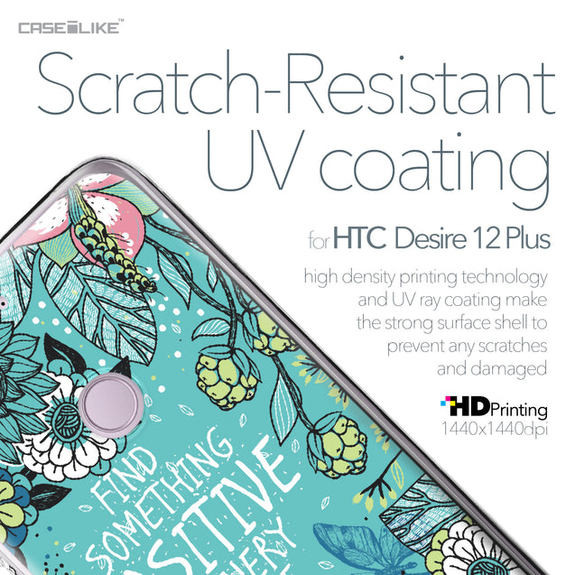 HTC Desire 12 Plus case Blooming Flowers Turquoise 2249 with UV-Coating Scratch-Resistant Case | CASEiLIKE.com