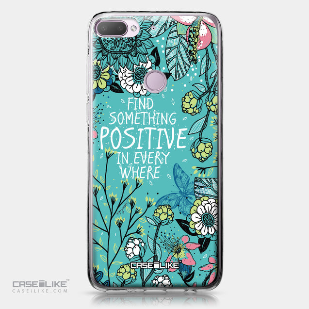 HTC Desire 12 Plus case Blooming Flowers Turquoise 2249 | CASEiLIKE.com