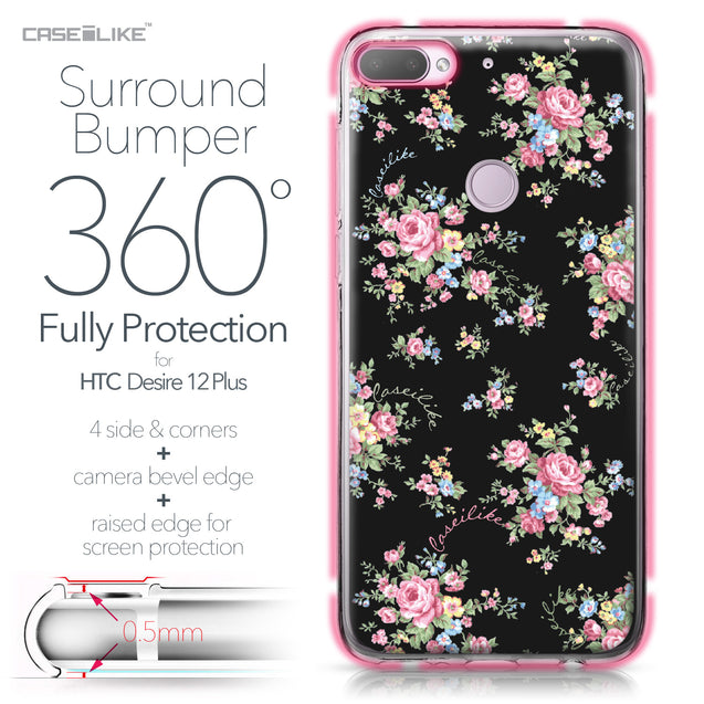 HTC Desire 12 Plus case Floral Rose Classic 2261 Bumper Case Protection | CASEiLIKE.com