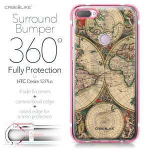 HTC Desire 12 Plus case World Map Vintage 4607 Bumper Case Protection | CASEiLIKE.com