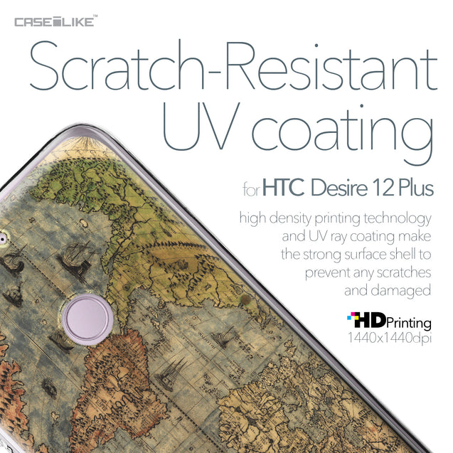 HTC Desire 12 Plus case World Map Vintage 4608 with UV-Coating Scratch-Resistant Case | CASEiLIKE.com