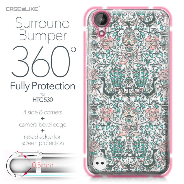 HTC Desire 530 case Roses Ornamental Skulls Peacocks 2226 Bumper Case Protection | CASEiLIKE.com