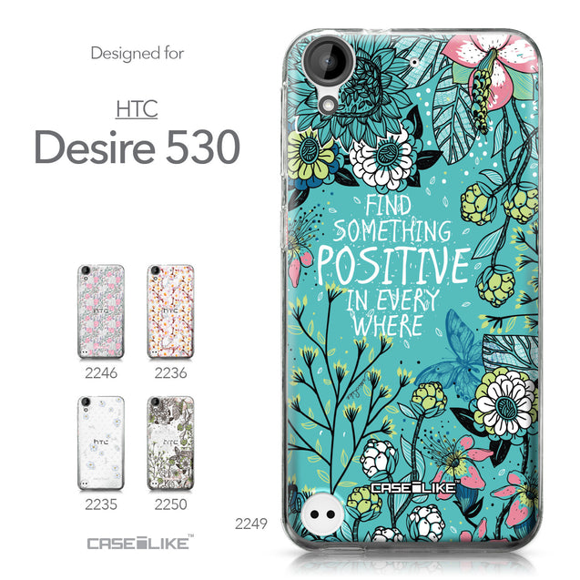 HTC Desire 530 case Blooming Flowers Turquoise 2249 Collection | CASEiLIKE.com