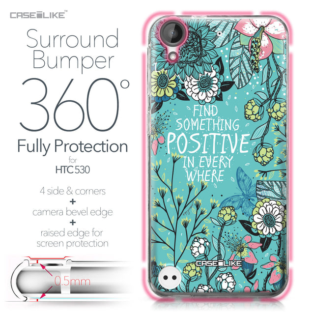 HTC Desire 530 case Blooming Flowers Turquoise 2249 Bumper Case Protection | CASEiLIKE.com